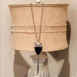 Shiny black and faux diamond owl necklace